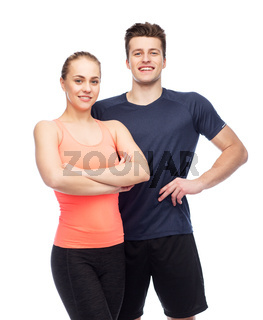 happy sportive man and woman