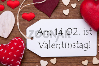 Label, Red Hearts, Flat Lay, Valentinstag Means Valentines Day
