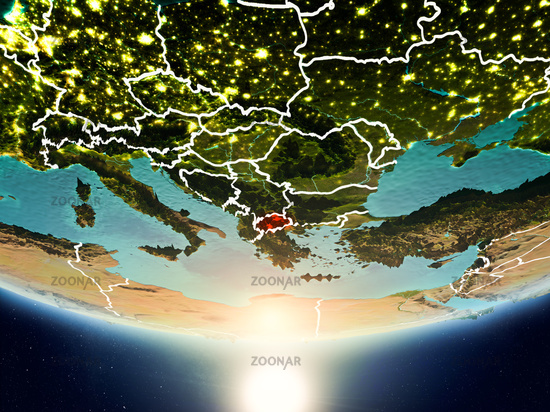 Macedonia with sun on planet Earth