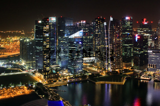 Singapore Downtown Core reflected in the river