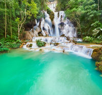 Tat Kuang Si Waterfalls. Beautiful landscape. Laos.
