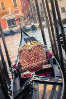 Venice empty gondola at morning