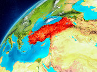 Space view of Turkey in red