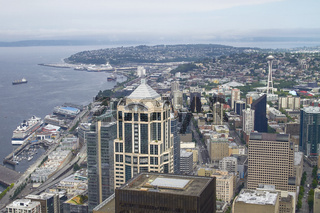 Skyline of Seattle and Space Needle Tower from Columbia Center in Washington, United States