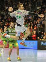 Jochen Nägele (Frisch Auf Göppingen)  beim DKB-Handball Punktspiel SC Magdeburg - Frisch Auf Göppingen am 22.02.2018 in Magdeburg
