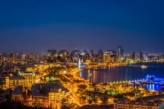View over Baku at night, Azerbaijan