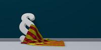 flagge von katalonien und paragraphsymbol - 3d illustration