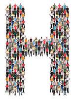 Buchstabe H Alphabet Leute Menschen People Gruppe Menschengruppe