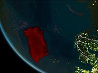 Satellite view of Greenland at night