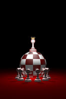 Monarchy. Power without oppositions. (Chess metaphor). 3D render illustration. Free space for text.