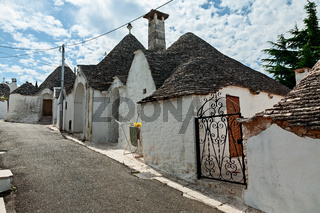 View of Trulli houses in Alberobello, Apulia, Italy