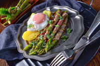green asparagus from the grill with egg
