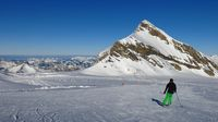 Ski slope on the Diablerets glacier, Switzerland. Mount Oldenhorn.