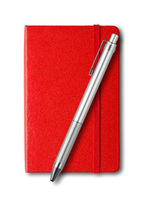 Red closed notebook and pen isolated on white