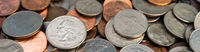 Pile of American Dollar Currency Coins Quarters Dimes Nickels Pennies