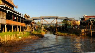 Bridge connecting water houses in the village, Inle lake, Myanmar