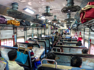 Interior of second class train car in Rajasthan, India