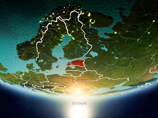 Estonia with sun on planet Earth