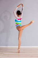 Girl gymnast performs exercises