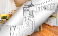 Kitchen Drawing Page Corners Flipping with Photo Behind