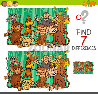 find differences with monkeys animal characters