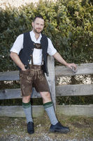 a man in bavarian traditional cloth