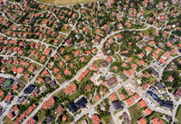 Aerial view of houses in Zlatibor, Serbia