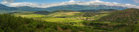 Beautiful summer panorama of vineyards in the mountains of Crimean peninsula