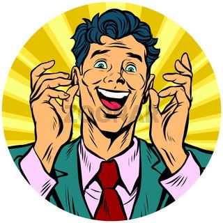 happy man pop art avatar character icon