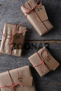 Four Presents with Numbered Tags
