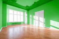 Green room with parquet floor , classic old building -