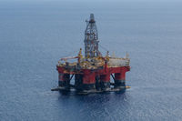 offshore drill platform -aerial, drilling platfom / oil rig