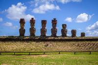 Moais statues site ahu Nao Nao on anakena beach, easter island