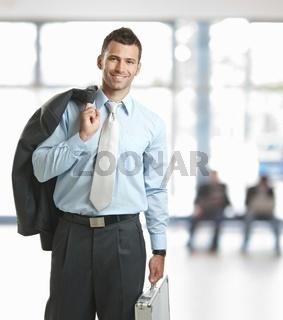 Businessman leaving office