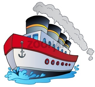 Big cartoon steamship - color illustration.