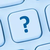 Computer Tastatur Fragezeichen Hilfe Symbol blau web