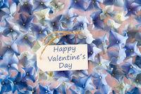 Hydrangea Flat Lay, Text Happy Valentines Day
