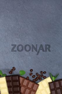 Schokolade Tafel Schiefertafel Essen hochkant Textfreiraum von oben