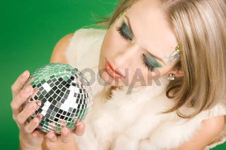 beautiful girl with silver ball
