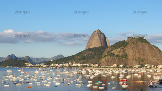 Afternoon in Guanabara Bay. Urca Mountain and boats
