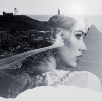 Double exposure. Portrait of woman combined with a mountain road and the sea. Black and white photo