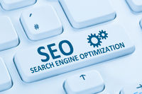 SEO Search Engine Optimization Suchmaschinenoptimierung Internet blau Computer Tastatur