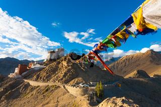 Leh Tsemo Fort Gompa Prayer Flags Mountains Ladakh