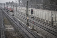 S-Bahn Gernlinden in the rain and storm