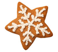 Gingerbread Star Cookie Isolated on White Background