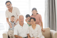 Asian multi generations family portrait