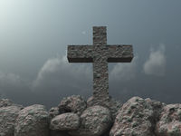 christliches kreuz aus stein vor wolkenhimmel - 3d illustration