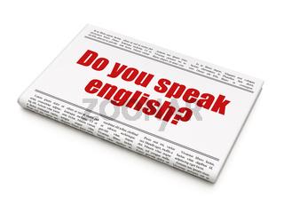 Studying concept: newspaper headline Do you speak English?