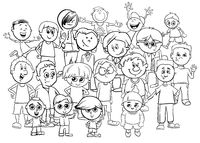 kid boy characters group cartoon color book