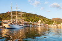 Sailing ship entering the port of Bergen, Norway